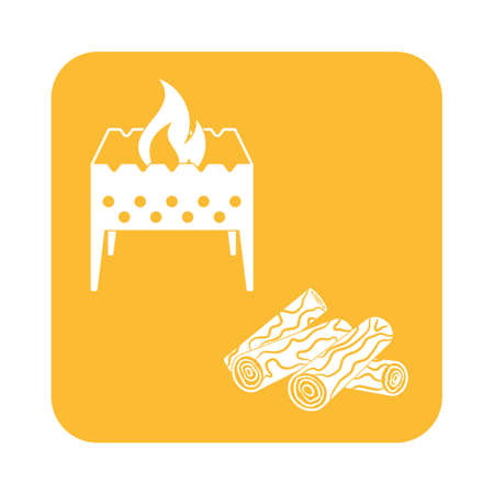 brazier: Brazier and firewood icon. Vector illustration