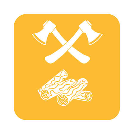 firewood: The ax and firewood icon. Flat Vector illustration Illustration