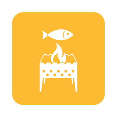 chafing dish: Brazier grill with fish icon. Vector illustration
