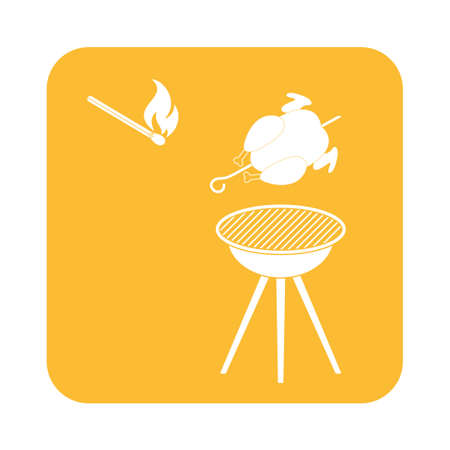 parrilla de la barbacoa con el icono de pollo. ilustración vectorial