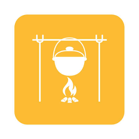 outing: Fire and pot icon. Vector illustration.