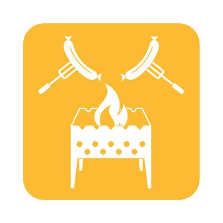 Brazier et saucisse icône. Vector illustration