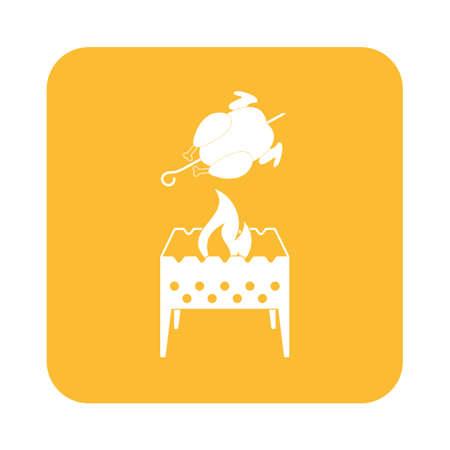 Brazier et icône de poulet. Vector illustration