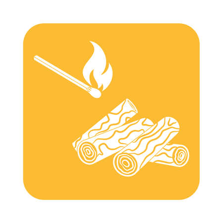 matches: Firewood and matches icon Vector illustration