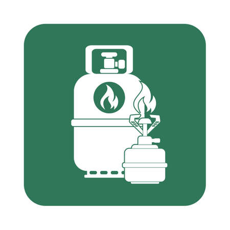 gas bottle: Camping stove with gas bottle icon. Flat icon isolated. Vector illustration Illustration