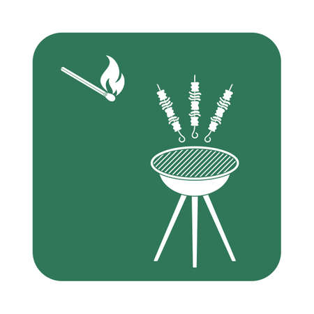 fried chicken wings: Grilled kebab icon. Vector illustration Illustration