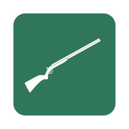 vintage military rifle: Hunting shot gun icon. Vector illustration