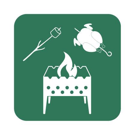 Brazier, zéphyr et icône de poulet. Vector illustration
