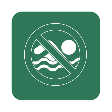 no swimming sign: No swimming prohibition sign icon. Vector illustration