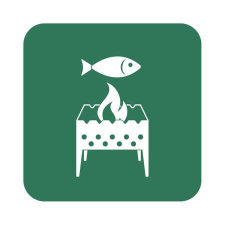coal fish: Brazier grill with fish icon. Vector illustration