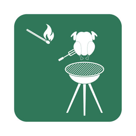 cooked meat: Grilled chicken icon. Vector illustration