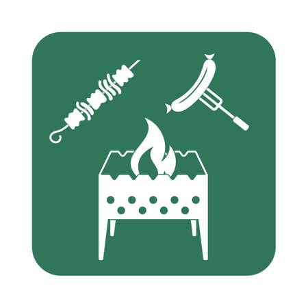 brazier: Brazier, kebab and sausage icon. Vector illustration