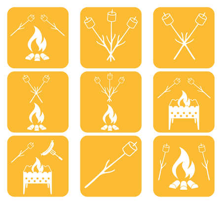 brazier: Brazier, zephyr and sausage icon. Vector illustration