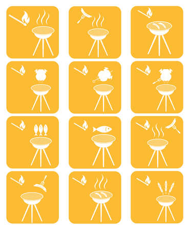 roaster: Set of barbecue icons. Vector illustration