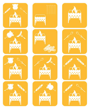 roaster: Brazier cooking icons set. Vector illustration Illustration