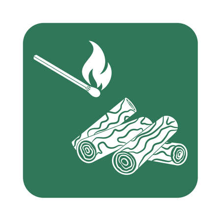 roaster: Firewood and matches icon Vector illustration