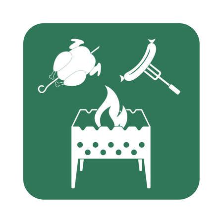 roaster: Brazier, chicken and sausage icon. Vector illustration