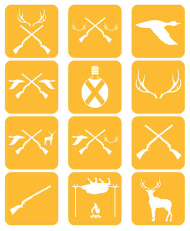 seal gun: Hunting equipment and trophies icons set. Vector illustration
