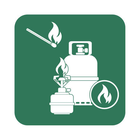 Camping stove with gas bottle icon vector. Vector illustration