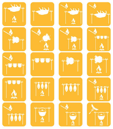 Set of barbecue grilll with boar and chicken icons. Vector illustration