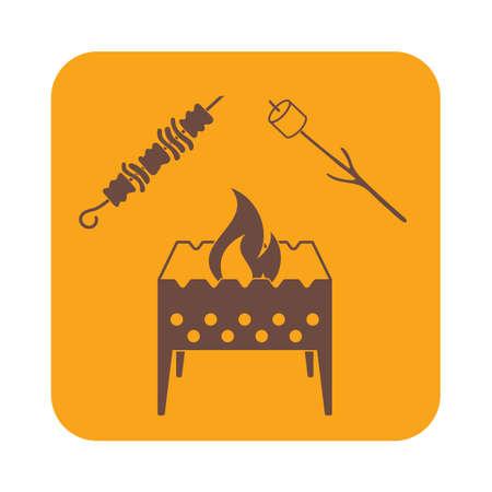 roaster: Brazier, zephyr and kebab icon. Vector illustration Illustration