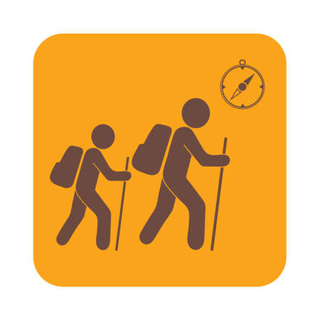 merit: Hiking tourists with compass icon. Vector illustration