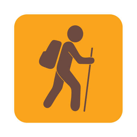rucksack: Hiking icon illustration isolated vector sign symbol Illustration