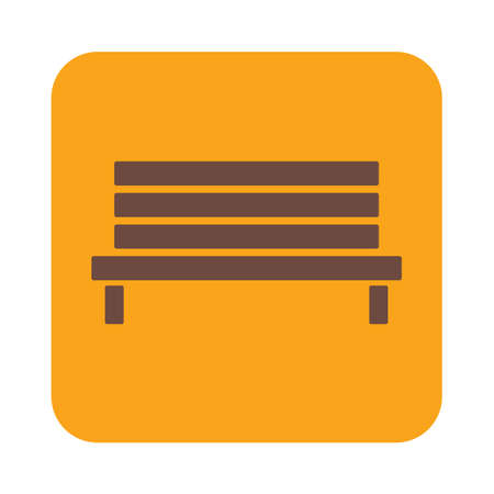 wooden bench: Outdoor park wooden bench vector icon glyph Illustration