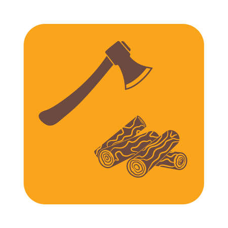 woodpile: The ax and firewood icon. Flat Vector illustration Illustration