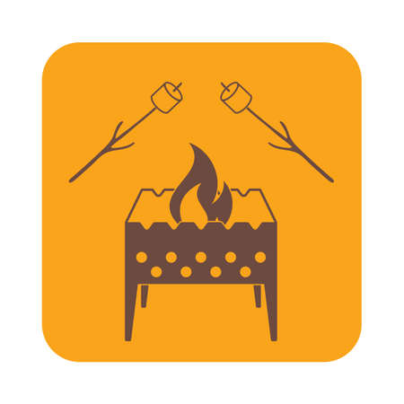 outing: Brazier and zephyr icon. Vector illustration