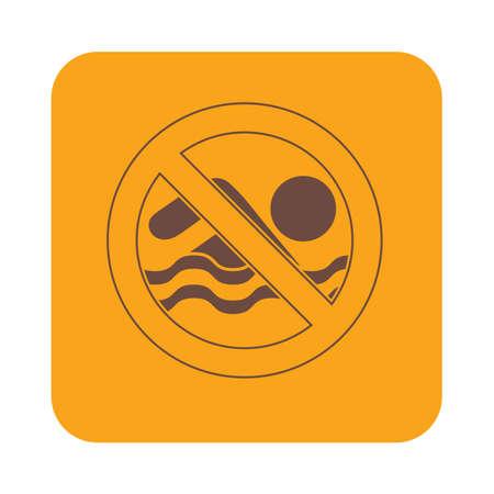 interdiction: Aucune interdiction de baignade signe icône. Vector illustration