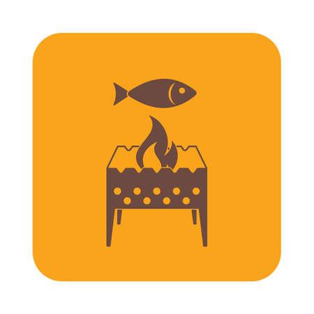 parrilla brasero con el icono de los peces. ilustración vectorial
