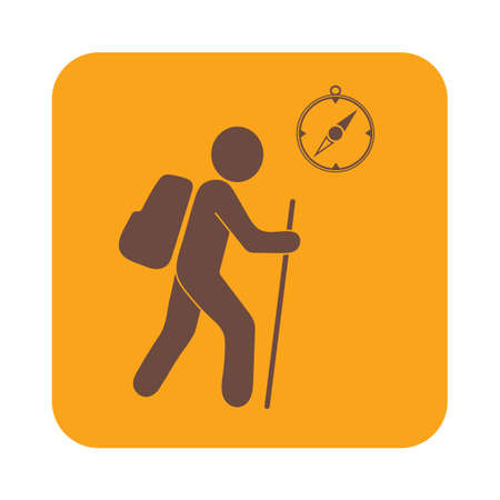 haversack: Hiking tourists with compass icon. Vector illustration