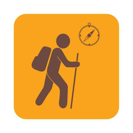 Randonnée touristes avec boussole icône. Vector illustration