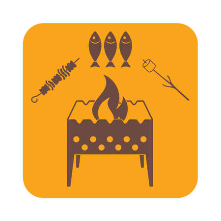 coal fish: Brazier zephyr, kebab and fish icon. Vector illustration