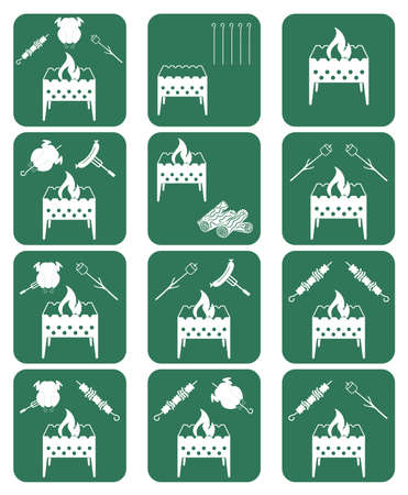 brazier: Brazier cooking icons set. Vector illustration Illustration