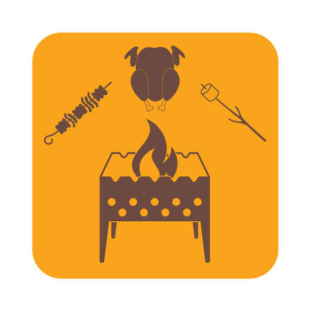 roaster: Brazier zephyr, kebab and chicken icon. Vector illustration