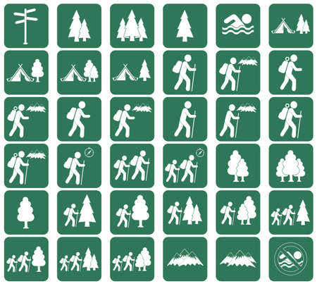 hiking: Set of Hiking tourists icon. Vector illustration