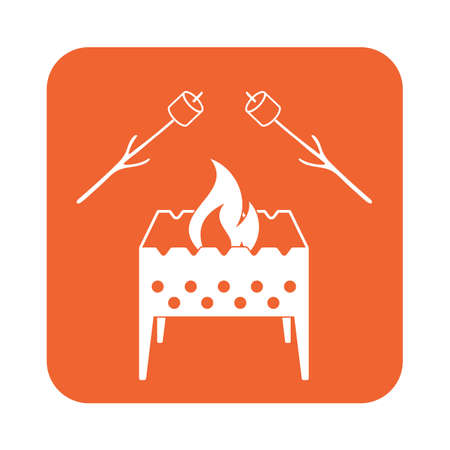 roaster: Brazier and zephyr icon. Vector illustration