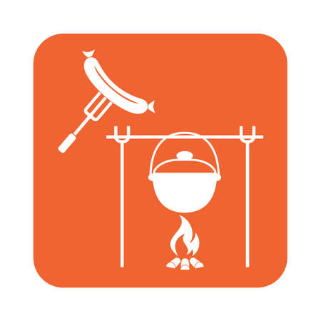 sausage pot: Fire, pot and sausage icon. Vector illustration.