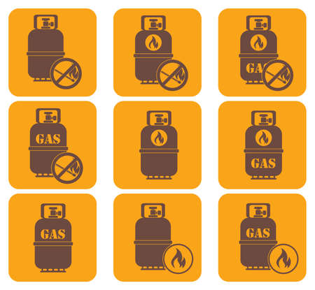 butane: Set of camping stove and gas bottle icons. Vector illustration.