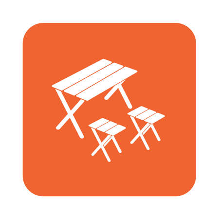 Camping table and stool icon. Vector illustration Illustration