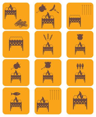brazier: Brazier coocking icons set. Vector illustration