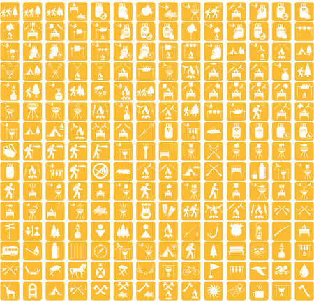 campground: Set of camping equipment icons. Vector illustration