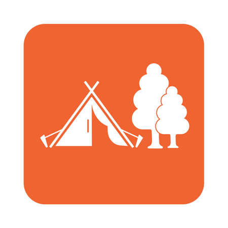 peg: Stylized icon of tourist tent. Vector illustration