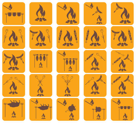 Set of coocing on campfire icons. Vector illustration Illustration