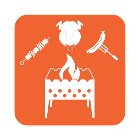 Brazier, kebab, chicen and sausage icon. Vector illustration