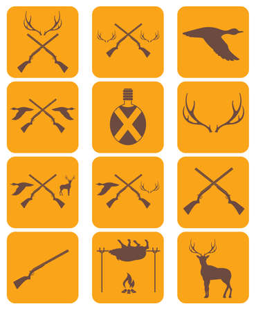 Hunting equipment and trophies icons set. Vector illustration Illustration