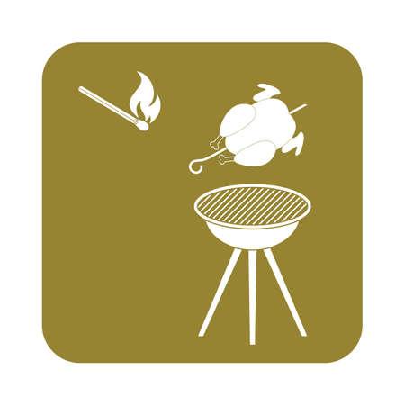 salamandre: Barbecue avec l'icône de poulet. Vector illustration