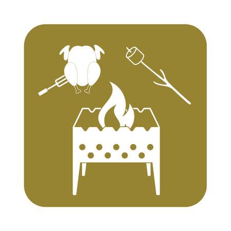 brazier: Brazier, zephyr and chicken icon. Vector illustration